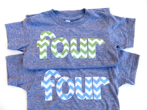 four for 4th Birthday Chevron Number -  Pick a chevron color Birthday Shirt-  sky blue is featured