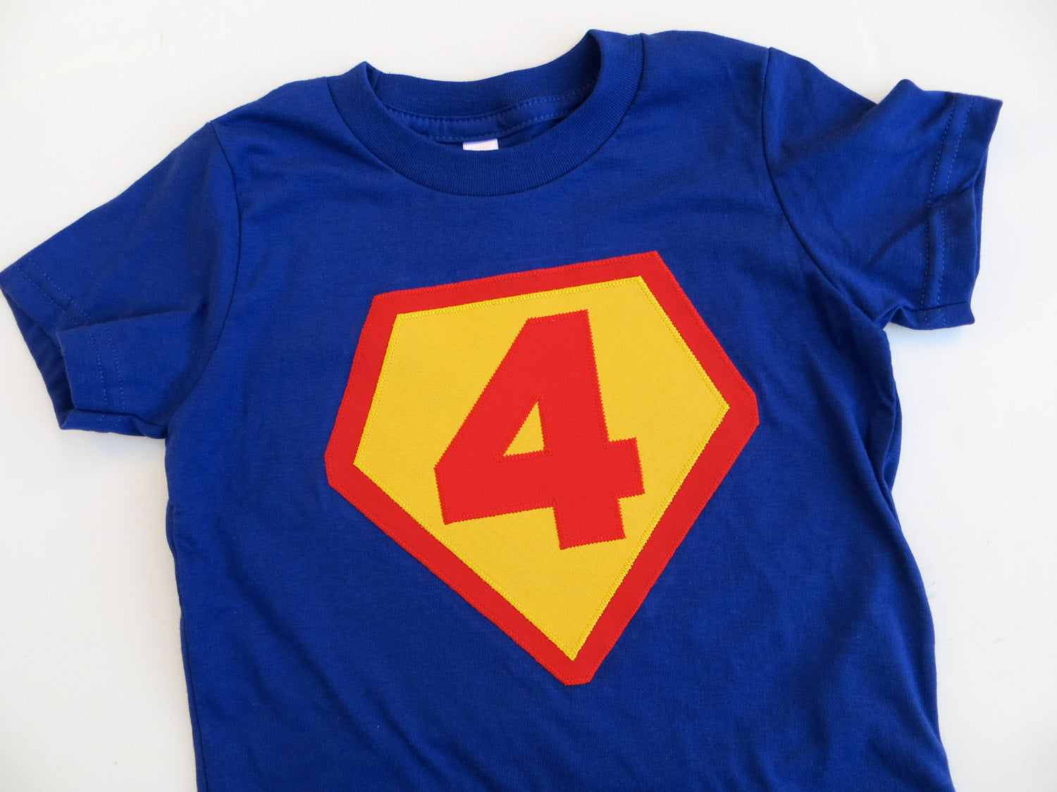 Number 6 Royal with red and sunshine- Children Costume Superhero Superman Birthday Shirt- Boys Girls Tshirt for Cape Birthday Party