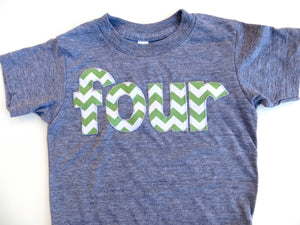 four for 4th Birthday Chevron Number -  Pick a chevron color Birthday Shirt- green and blue are shown