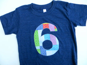 6 Building Bricks Birthday Shirt 6th six Boys Theme Indigo Short Sleeves stem robotics code pixels tech toys kids programming robot