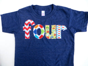 Boys Birthday Shirt Lowercase Letters Birthday Tshirt- four in Chevron Argyle, Cars, Pez
