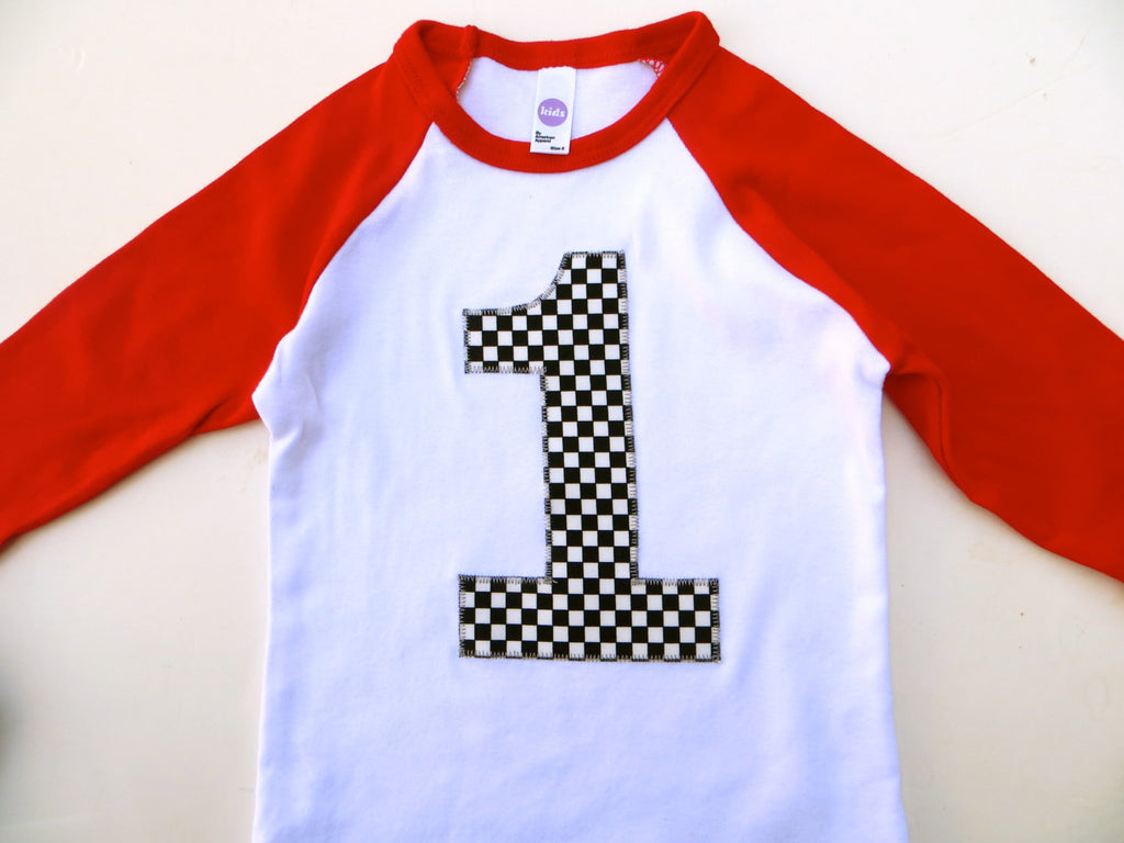 Boys 1st Birthday Red and White raglan with checkered race car flag 1