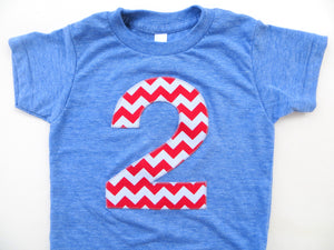 Big Number 2 Birthday Shirt Big Red and White Chevron Short Sleeve Birthday Shirt Triblend Athletic Blue Hip Birthday Tshirt