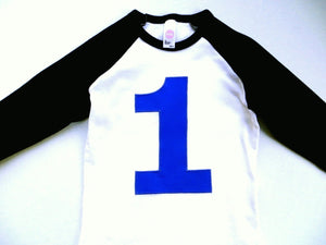 Black and White Baseball Raglan with royal 1- Birthday T Shirt- 1st, 2nd, 3rd Any Birthday 1 2 3 4 5