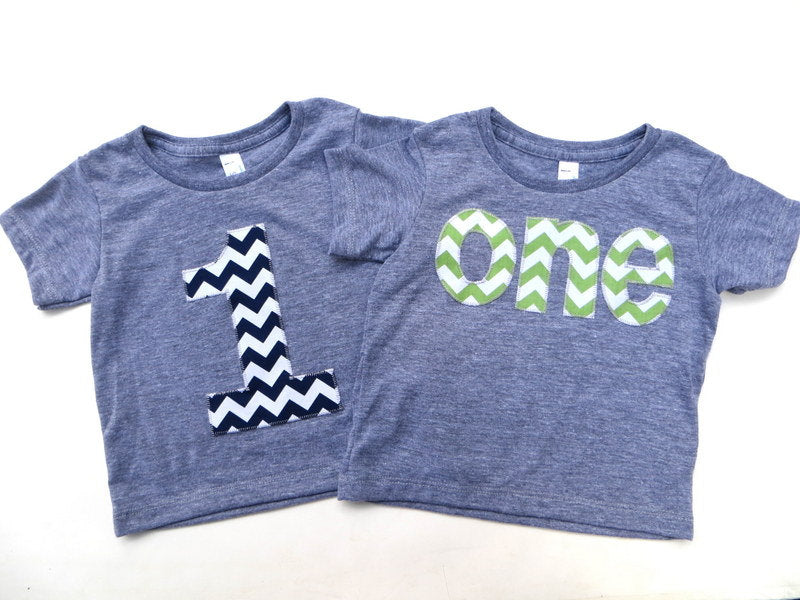 "Any Number Boys Set 2 for 52 Deal - Sale - Pick an ""one"" shirt  and 1 grey short sleeve birthday shirt with chevron number"