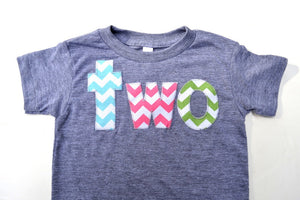 aqua, pink, green-  two triblend grey birthday shirt for 2nd  Birthday Chevron Number - Pick a color