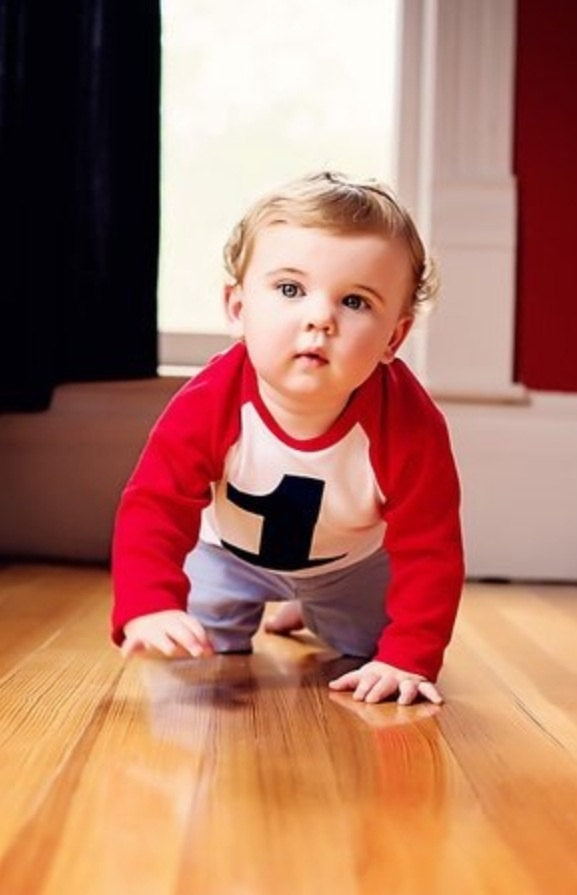Crawling- My First Birthday Shirt- Raglan 1st Birthday T Shirt Boy baseball sports red and white with navy blue number 1