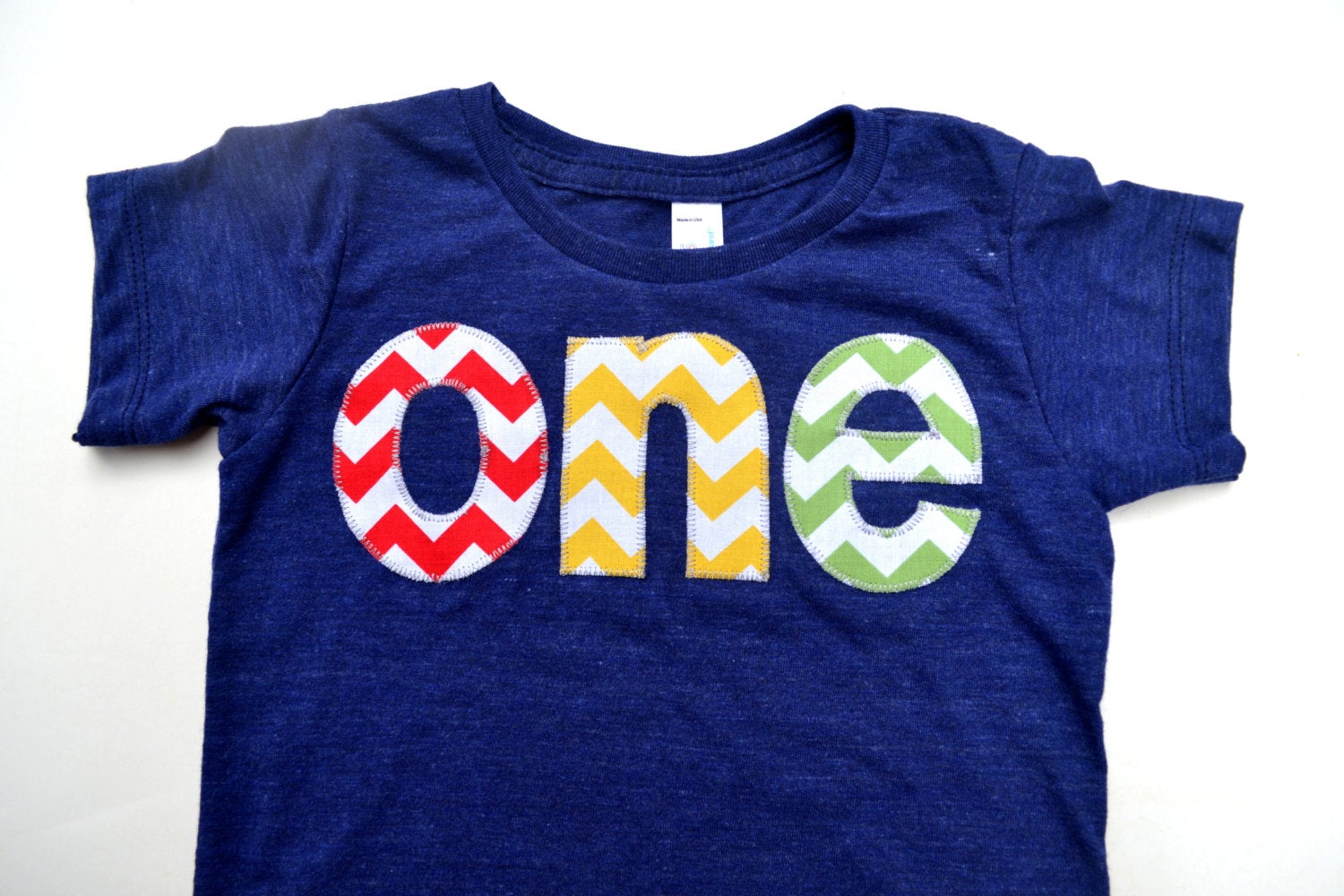 chevron lovers one for 1st Birthday chevron Number for any Birthday- pick your colors- red, yellow, grass green on triblend indigo