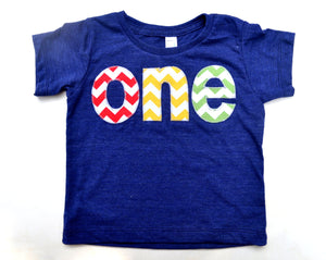 one for 1st Birthday chevron Number for any Birthday- pick your colors- red, yellow, grass green on triblend indigo
