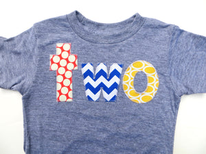 Grey Short Sleeves primary colors red blue yellow Birthday Shirt - dots, chevron, ovals