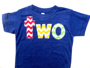 chevron Birthday Shirt two for 2nd 2 two chevron Number for any Birthday- pick your colors- red, yellow, grass green on triblend indigo