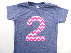 Big Pink and White Chevron Short Sleeve Birthday Shirt Triblend Grey Hip Birthday Tshirt