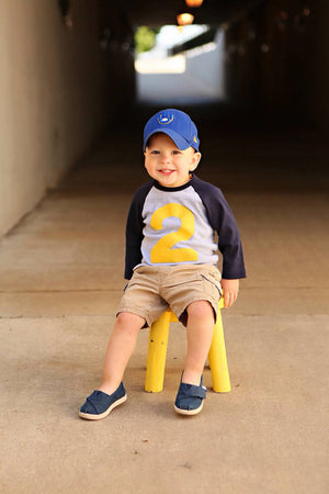 Fan Photo- Any Number Birthday Shirt- Raglan 2nd Birthday T Shirt Boy Navy and Grey with Yellow Number