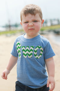 Fan Photo lowercase two Birthday Shirt  in short sleeve athletic blue with kelly green chevron for 2 year old