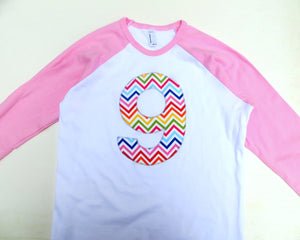 9 for 9th Girls Birthday for 6, 7, 8, 9 year old- Rainbow Chevron on Girls Pink and White Raglan-  Number Birthday Shirt