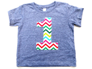 Any number Multi color Chevron 1 2 3 4 5 6 7 8 9 on Birthday Shirt short sleeve triblend grey birthay