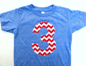 Big Red and White Chevron Short Sleeve Birthday Shirt Triblend Athletic Blue Hip Birthday Tshirt