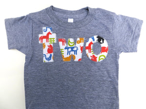Farm Birthday Shirt- Boys 2nd two  Birthday T Shirt - Tractors and Animals Cow Sheep Pig Chicken Rooster