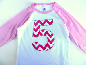 Five Girls Birthday Shirt Giant Number First Birthday Shirt- Fuchsia Chevron Pink Any Birthday one two three four 1st 2nd 3rd 4th 5th fifth