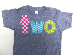 Pink Fuchsia Aqua Turquoise Lime Apple Green Two Grey Birthday Shirt For 2nd