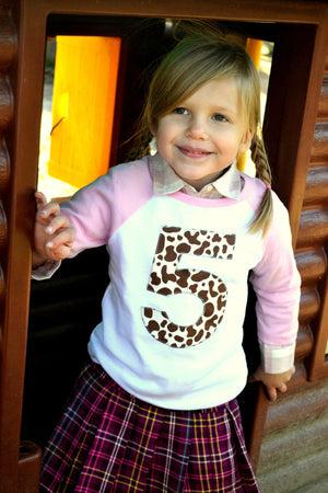 Brown Cow -Farm Tractor Shirt Birthday Pink and White Raglan Number or Any Birthday Number on Birthday Shirt