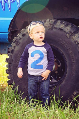 FAN PHOTO Any Number Navy and Grey Raglan with royal blue number Birthday Shirt