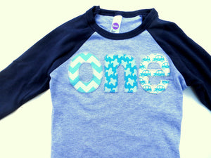 Boys 1st- Birthday Shirt- aqua chevron, airplanes, planes, cars on Birthday T Shirt Raglan Baseball
