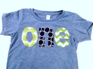 Boys 1st  Birthday Shirt on athletic blue for one year old- lime green navy circles grass green chevron