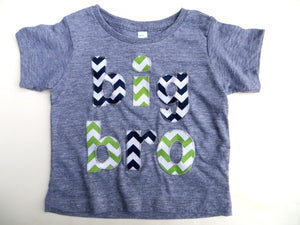 Triblend Grey Big Sis to Be or Little Sister Birth Announcement Shirt lil bro Pick chevron