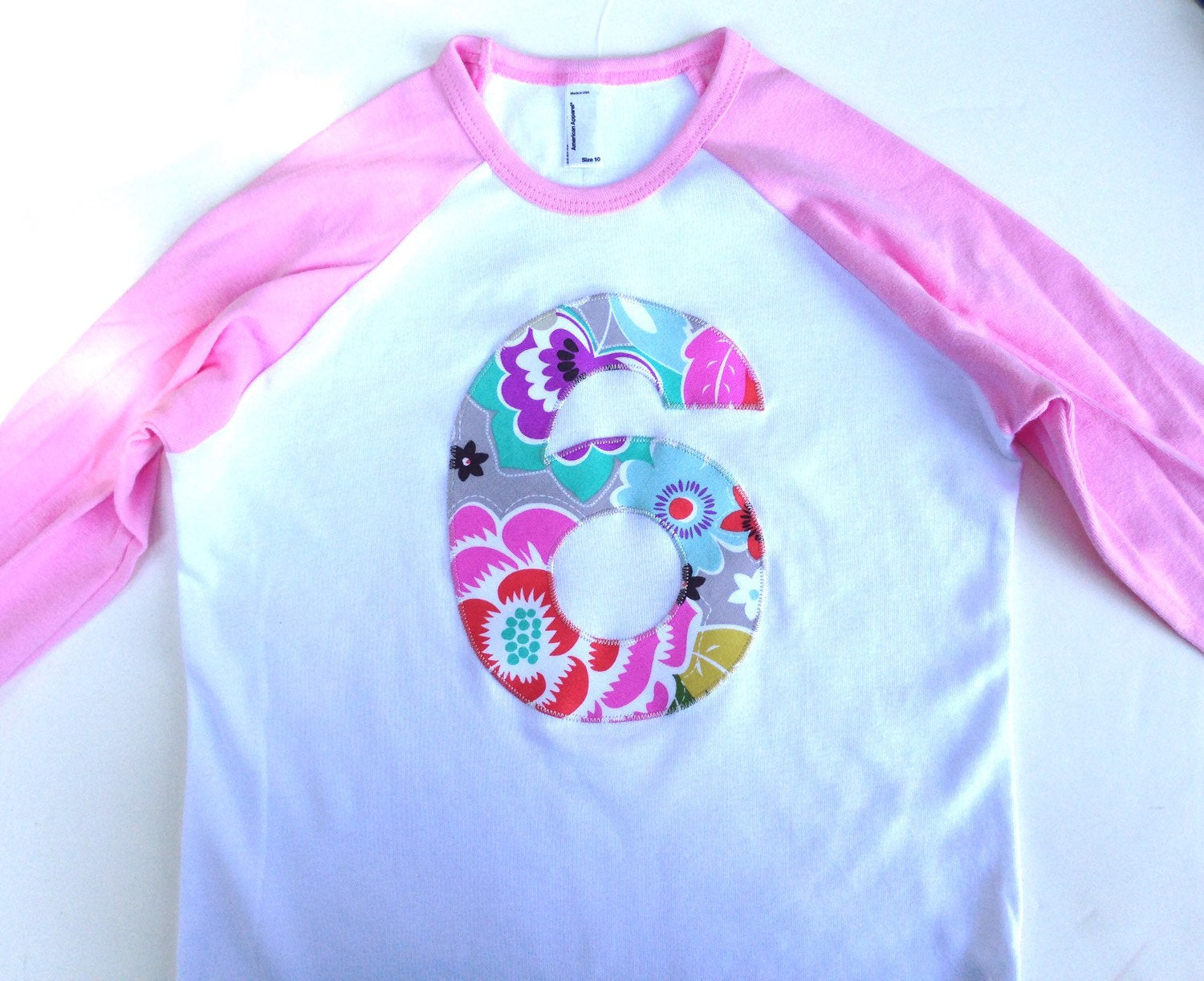Girls 2nd two Birthday shirt two year old Modern Flower 2 Girls Pink and White Raglan Number Birthday Shirt party supplies cake invitations