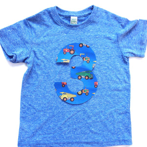 Construction truck 1 2 3 4 5 Birthday Shirt athletic blue short sleeve blue yellow for 3 year old dumptrucks dump digger loader