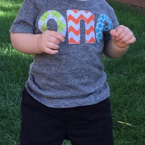 Fan Photo one for 1st Birthday chevron Number for any Birthday- lime argyle, orange chevron, aqua turquoise robin dots triblend grey