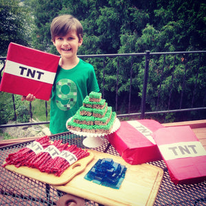 tnt ANY NUMBER green 8 pixel video game Fabric Birthday Shirt older kids 7th 8th 9th birthday boy tnt water land hacks