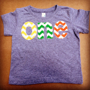 Fiesta Party red, kelly green, orange-  one on grey birthday shirt for 1st  Birthday Chevron Number - Pick a color