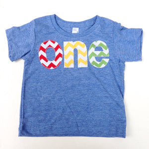 chevron lovers one for 1st Birthday chevron Number for any Birthday- pick your colors- red, yellow, grass green on triblend athletic blue