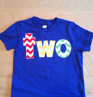 Two birthday shirt | 2nd Birthday shirt | boys first birthday | red yellow, green blue | primary colors | party theme