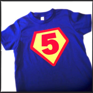 Number 5 Royal with red and sunshine- Children Costume Superhero Superman Birthday Shirt- Boys Girls Tshirt for Cape Birthday Party
