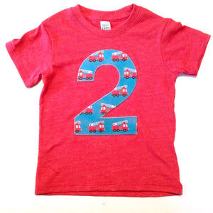 2nd 2 two Birthday firetrucks big number 1 2 3 4 5 Birthday Shirt with red fire truck men  blue yellow for 3 year old firemen on red