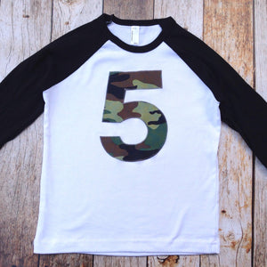 Camouflage army birthday shirt deer hunter navy marines air force black and white raglan army men military Boys 1 2 3 4 5 6 7 8 9