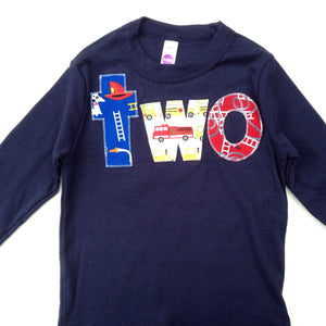 2nd 2 two Birthday firetrucks big number Birthday Shirt with red fire truck men blue yellow year old firemen on navy long sleeves