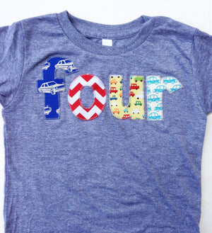 four 4 years old 4th Birthday Shirt shirt red chevron, royal blue retro cars, yellow aqua cars for boys grey Birthday Shirt primary colors