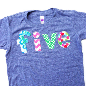 five lowercase with damask flowers, pink chevron, green circles, dots  girls mix Triblend Grey Hip Birthday Shirt