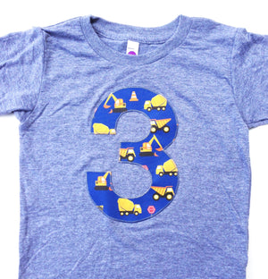 Blue Yellow Construction Truck 1 2 3 4 5 Birthday Shirt Grey Short Sle Captain