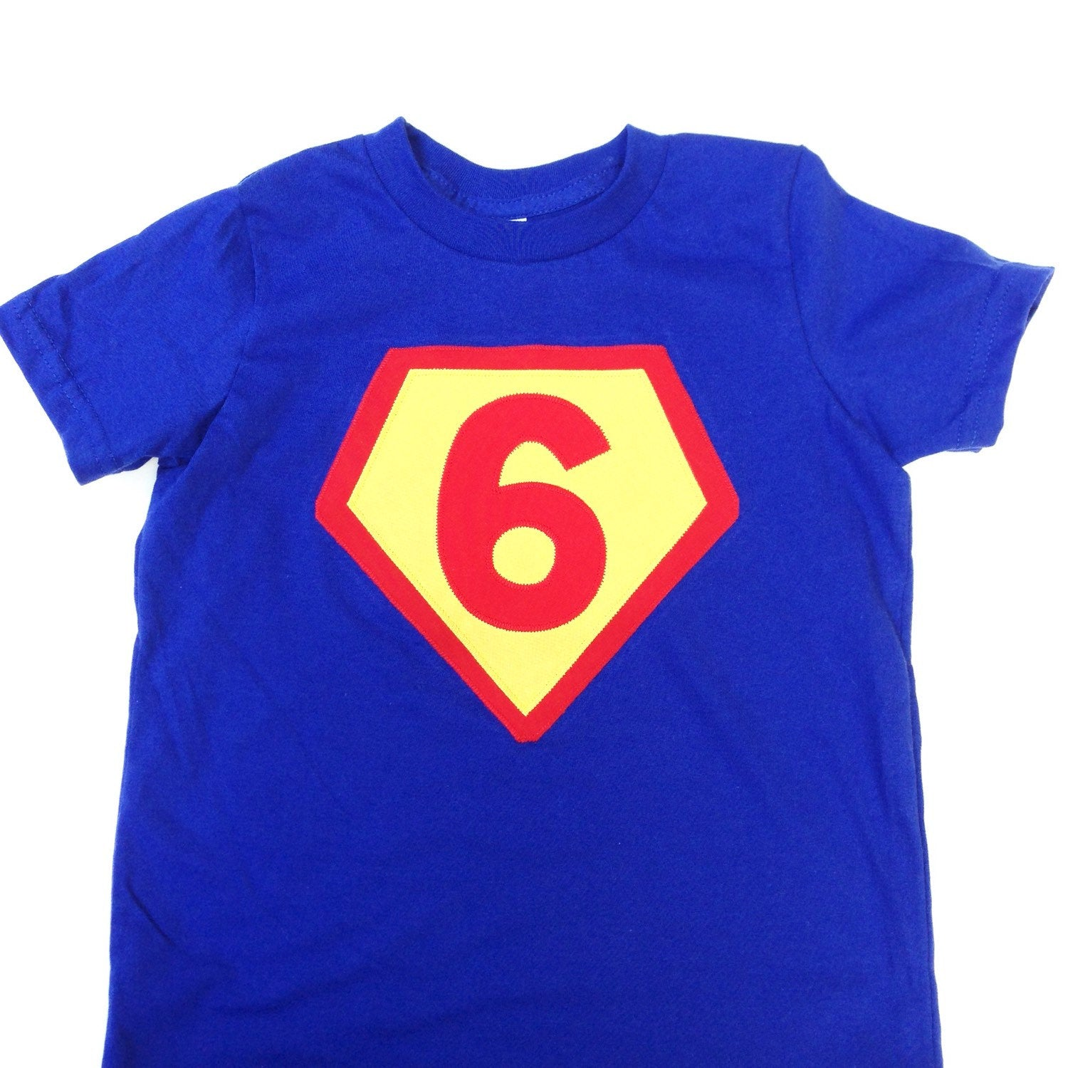 265481ddb Fan Photo Number 6 Royal with red and sunshine- Children Costume Superhero  Superman Birthday Shirt
