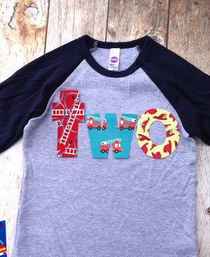 Birthday Shirt two shirt fire truck engine firetruck for boys blue 2nd - Navy and Grey Baseball Raglan primary red aqua yellow