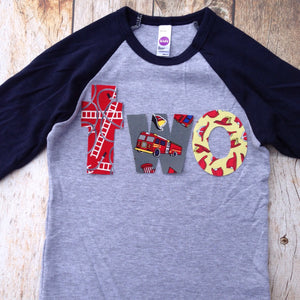 Birthday Shirt two shirt fire truck engine firetruck for boys blue 2nd - Navy and Grey Baseball Raglan primary red grey yellow hydrant