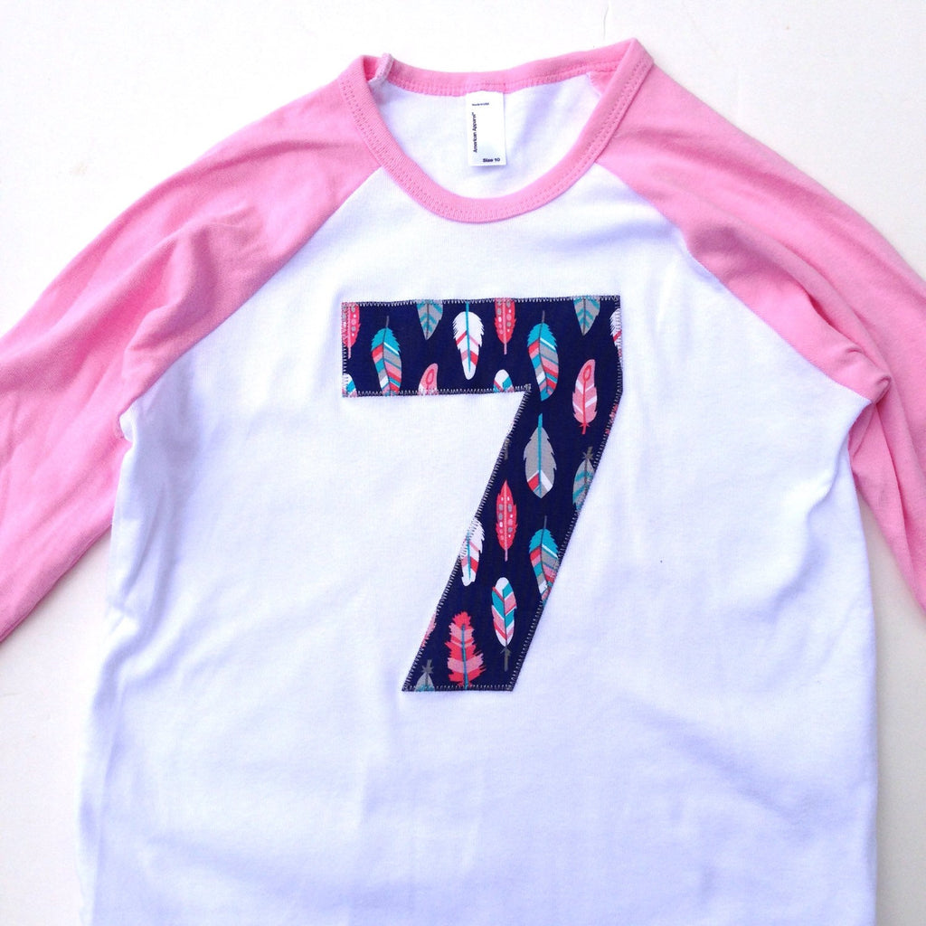 Feathers Arrows Birthday Shirt For 6 7 8 9 Year Old Pink Aqua Navy Camp Arrow