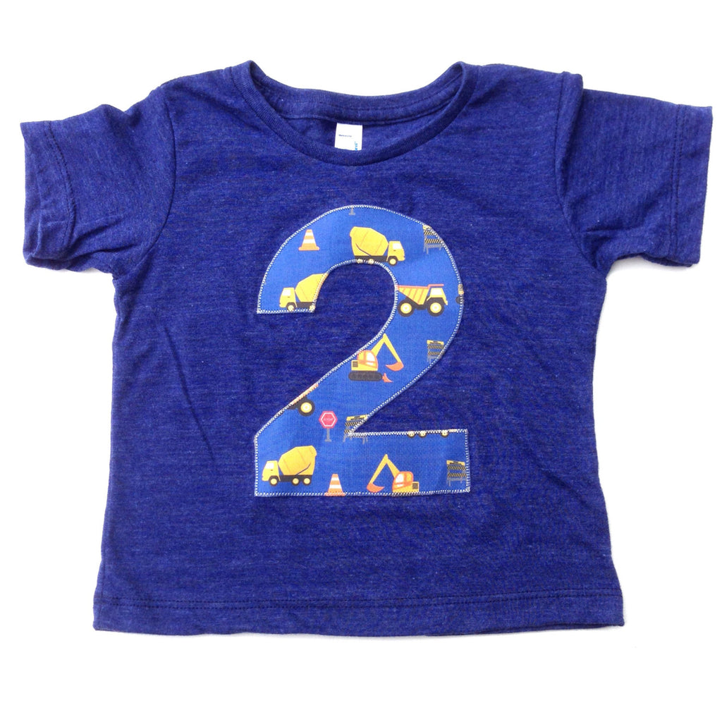Construction truck birthday outfit 1 2 3 4 Birthday Shirt indigo blue short sleeve blue yellow for 2 year old dumptrucks dump digger loader