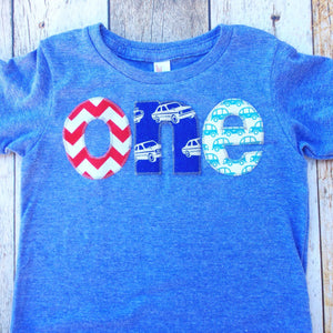Birthday Shirt one red chevron, royal retro cars, aqua cars for boys 1st athletic blue Birthday Shirt boys first birthday tshirt party white