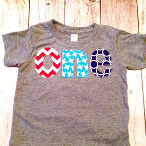 Red aqua navy birthday shirt Triblend grey short sleeves one 1st Birthday outfit boy red chevron, aqua airplane, navy blue boys party